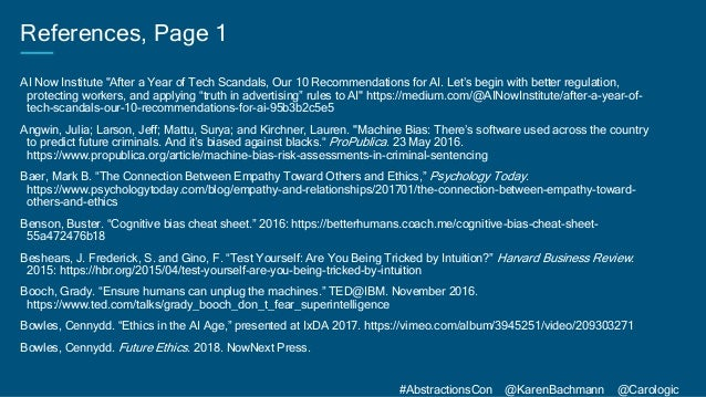 """#AbstractionsCon @KarenBachmann @Carologic References, Page 1 AI Now Institute """"After a Year of Tech Scandals, Our 10 Reco..."""