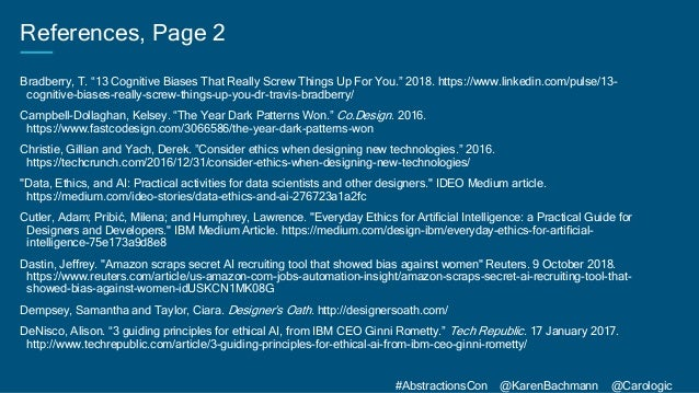 """#AbstractionsCon @KarenBachmann @Carologic References, Page 2 Bradberry, T. """"13 Cognitive Biases That Really Screw Things ..."""