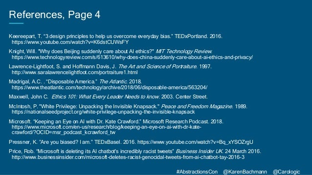 """#AbstractionsCon @KarenBachmann @Carologic References, Page 4 Keereepart, T. """"3 design principles to help us overcome ever..."""