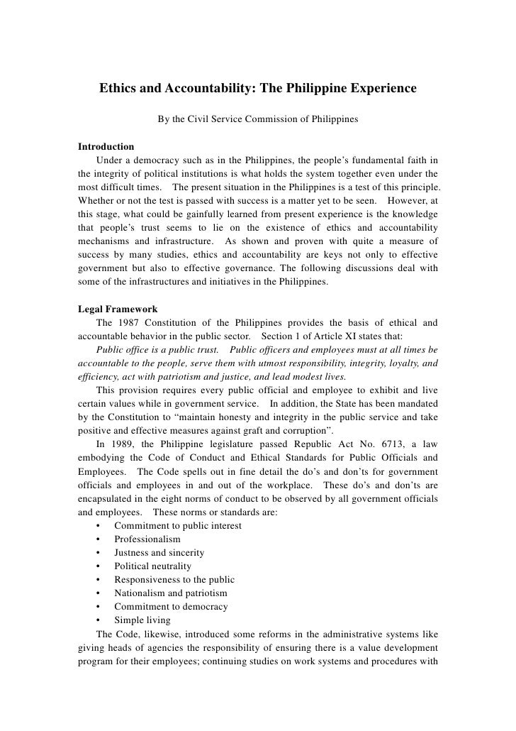 Ethics and Accountability: The Philippine Experience                   By the Civil Service Commission of PhilippinesIntro...
