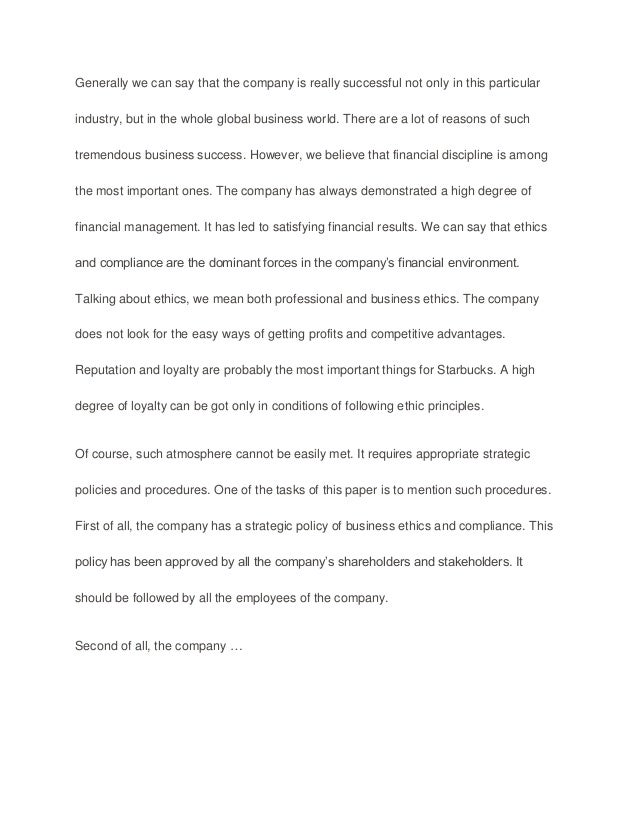 Ethics and compliance sample paper - essay