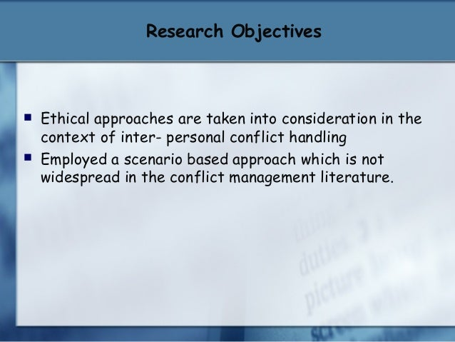 Conflict between research and ethics paper