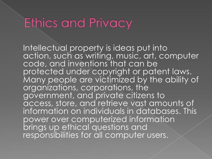 ifsm 304 information ethics Running head: paper a 1 ifsm 304 ethics in information technology doctor  kristina olsen paper a 23 january 2016 paper.