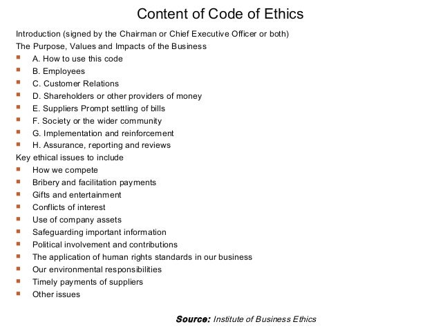 Code of business ethics definition examples and tips to make one example of the content page in a code of ethics image courtesy of slideshare accmission Gallery