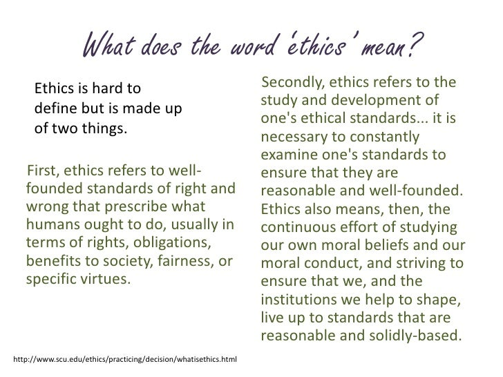 what does ethics mean to you