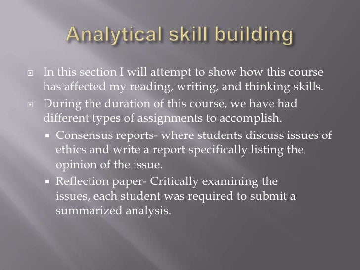 Analytical writing skills samples