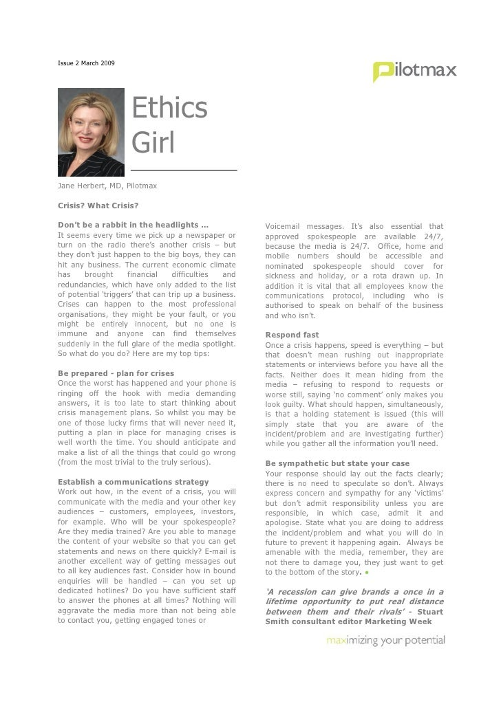 Issue 2 March 2009                          Ethics                      Girl Jane Herbert, MD, Pilotmax  Crisis? What Cris...