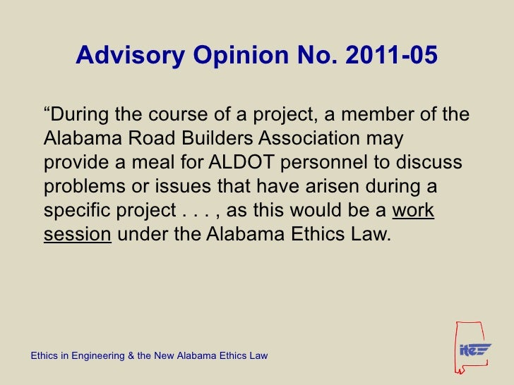 Ethics in Engineering & the New Alabama Ethics Law by Jim Meads, P.E.…