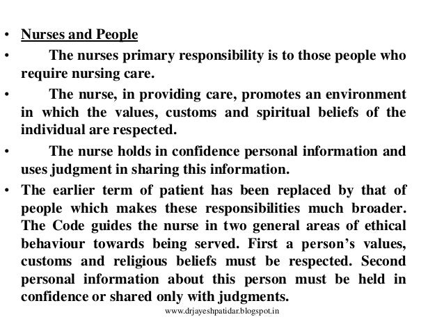 values morals and ethics in nursing