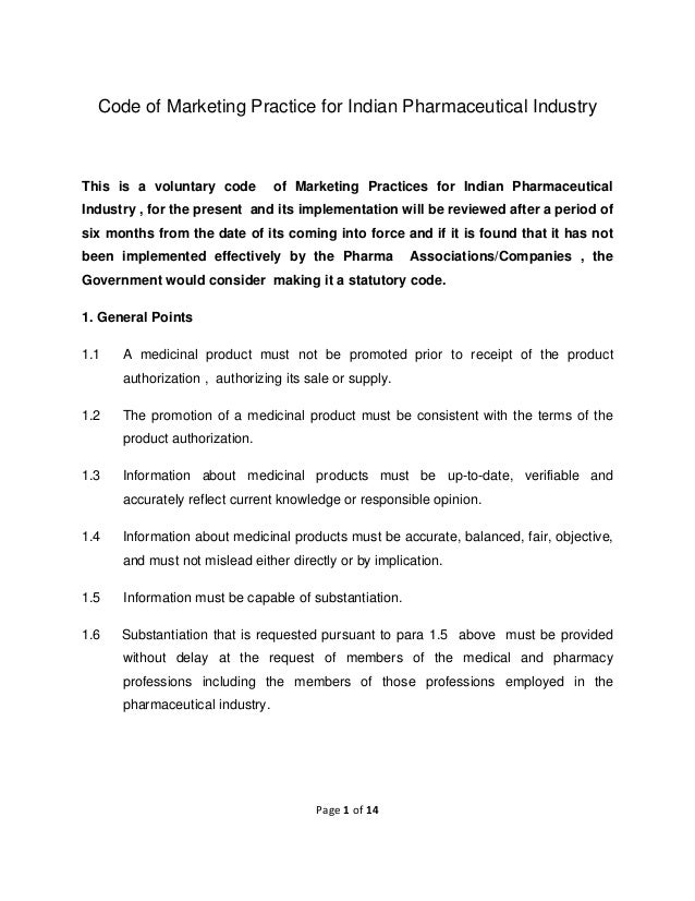 Code of Marketing Practice for Indian Pharmaceutical Industry  This is a voluntary code  of Marketing Practices for Ind...