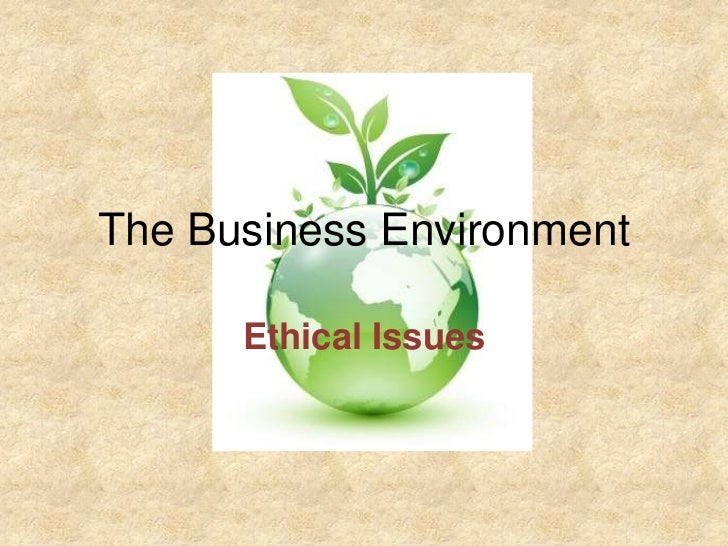The Business Environment      Ethical Issues