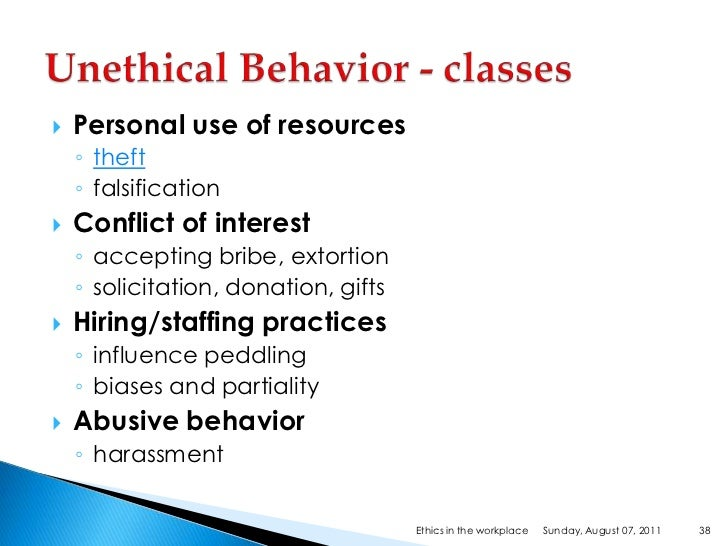 unethical employee behaviour mgts 1601 The 5 most common unethical workplace behaviors topics: business ethics ethics in the workplace unethical behavior employee theft is a crime and unethical 4.