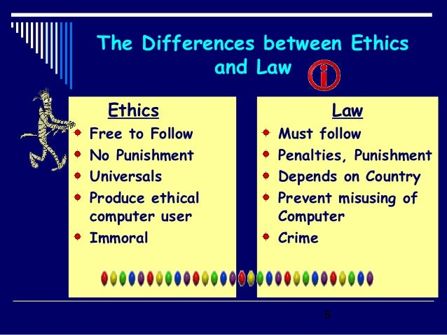 differences between law and ethics Relation between law and morality or ethics law is an enactment made by the state it is backed by physical coercion its breach is punishable by the courts it represents the will of the.