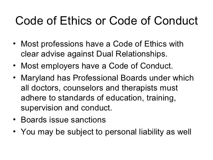 Ethics issues and boundaries training