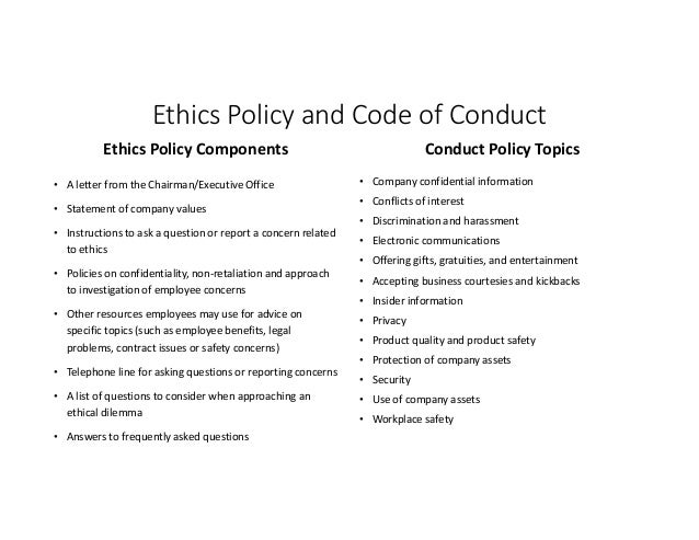 Business Ethics: Sample Policies Levi Strauss & Co: Ethical Principles
