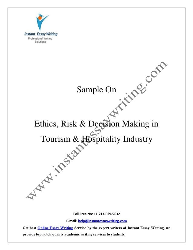 sample report on ethics risk decision making in tourism hospital