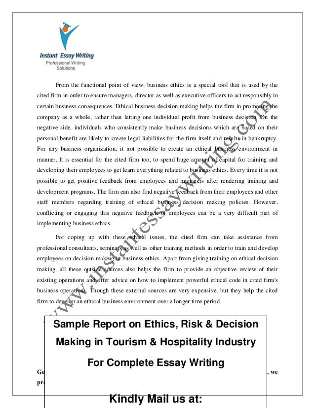 business ethics essay essay report