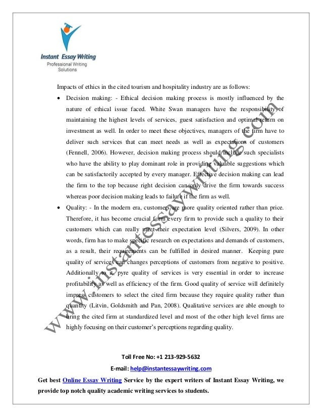 sample report on ethics risk decision making in tourism hospital 5