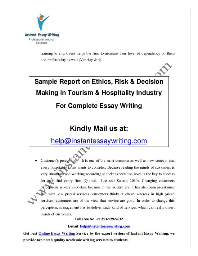 Risk On amp; Report In Sample Making Tourism Hospital… Decision Ethics