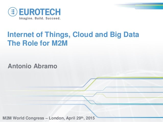 Internet of Things, Cloud and Big Data The Role for M2M Antonio Abramo M2M World Congress – London, April 29th, 2015