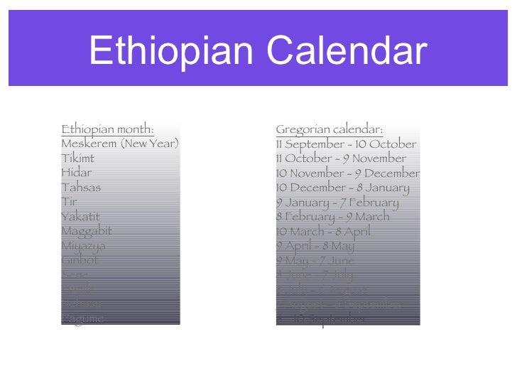 Ethiopian Calendar Ethiopian month: Meskerem (New Year) Tikimt Hidar Tahsas Tir Yakatit Maggabit Miyazya Ginbot Sene Hamle...