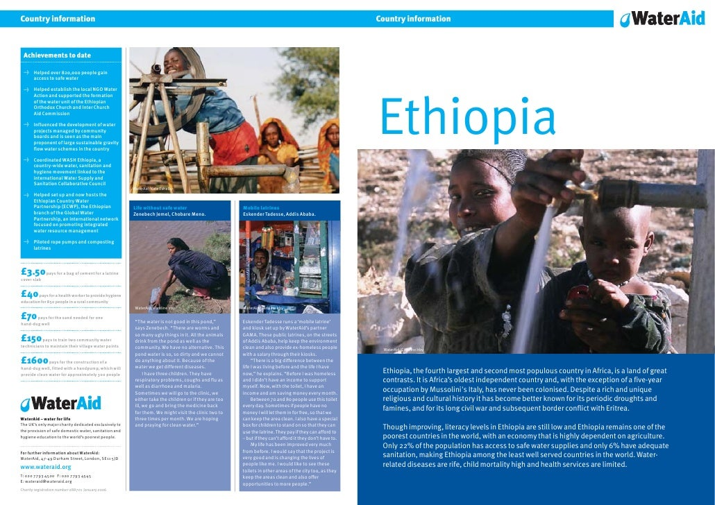 Country information     Ethiopia     WaterAid/Caroline Irby      Ethiopia, the fourth largest and second most populous cou...
