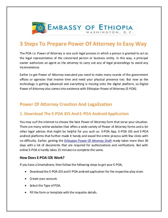 power of attorney form ethiopian embassy  Ethiopian Power Of Attorney App