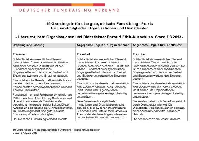 19 Grundregeln für eine gute, ethische Fundraising - Praxis                                für Einzelmitglieder, Organisat...