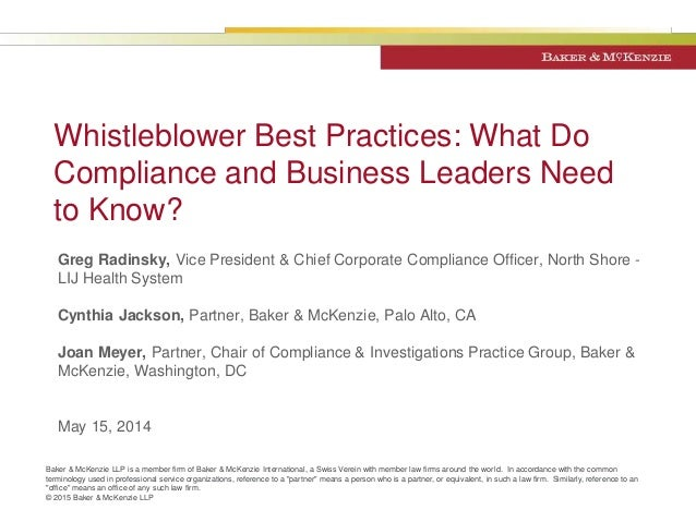 Whistleblower best practices what do compliance and business leaders - Corporate compliance officer ...