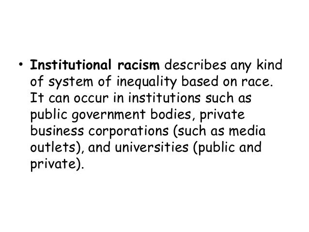 Institutionalized racism essay introduction