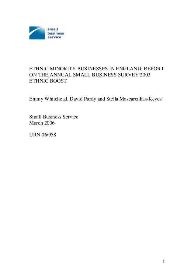 ETHNIC MINORITY BUSINESSES IN ENGLAND; REPORT ON THE ANNUAL SMALL BUSINESS SURVEY 2003 ETHNIC BOOST Emmy Whitehead, David ...
