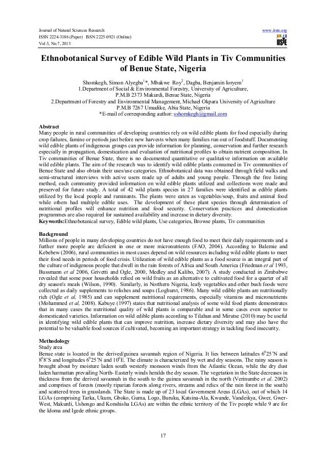 Journal of Natural Sciences Research www.iiste.org ISSN 2224-3186 (Paper) ISSN 2225-0921 (Online) Vol.3, No.7, 2013 17 Eth...
