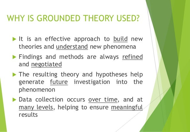 use of grounded theory Grounded theory is an inductive type of research, based in the observations or data from which it was developed it uses a variety of data sources, including quantitative data, review of.