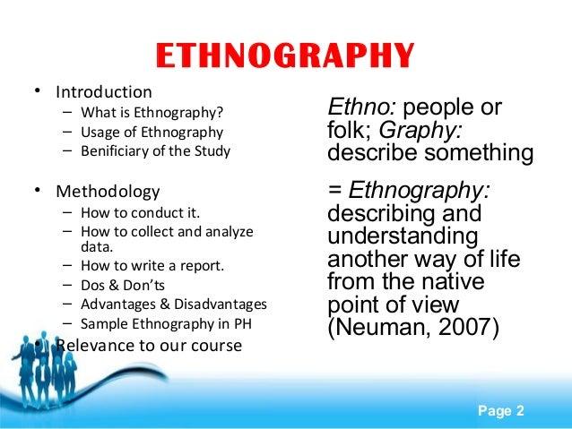 Anthropology sample ethnography