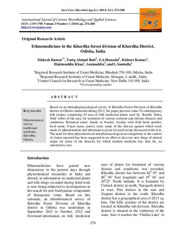 Int.J.Curr.Microbiol.App.Sci (2014) 3(1): 274-280  ISSN: 2319-7706 Volume 3 Number 1 (2014) pp. 274-280 http://www.ijcmas....