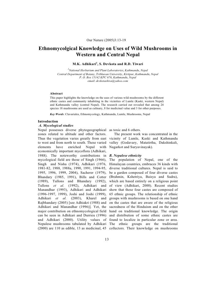 Ethnomycological Uses On Wild Mushroom In Western And Cantral Nepal