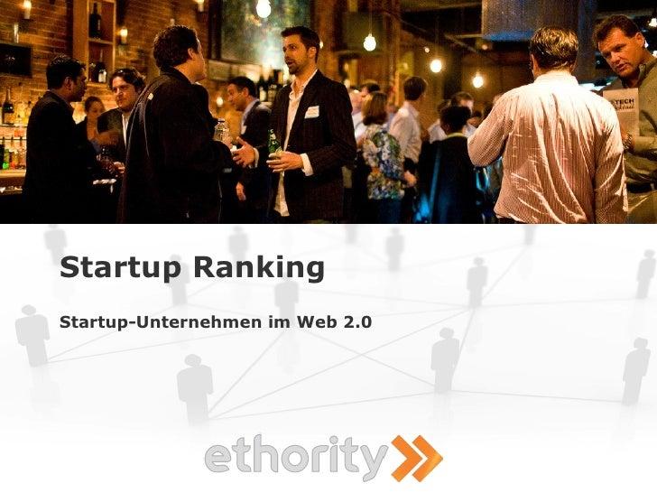 Startup Ranking Startup-Unternehmen im Web 2.0