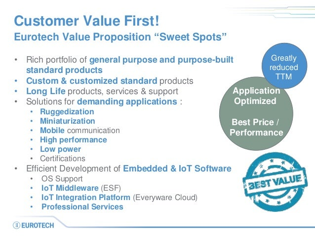 """Customer Value First! Eurotech Value Proposition """"Sweet Spots"""" • Rich portfolio of general purpose and purpose-built stand..."""