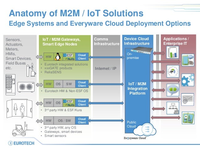 Anatomy of M2M / IoT Solutions Edge Systems and Everyware Cloud Deployment Options Communication Infrastructure IoT / M2M ...
