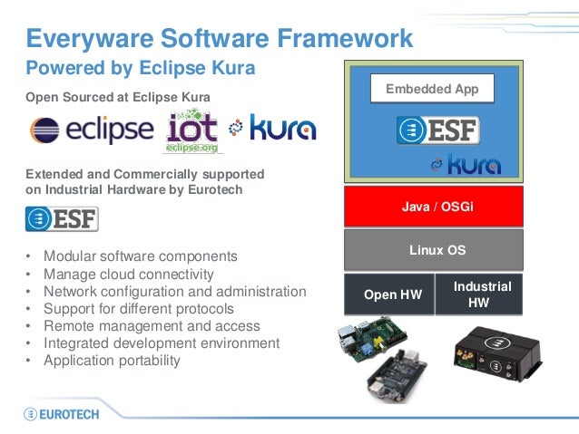Linux OS Open Sourced at Eclipse Kura Extended and Commercially supported on Industrial Hardware by Eurotech • Modular sof...