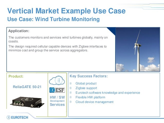 Vertical Market Example Use Case Use Case: Wind Turbine Monitoring Application: The customers monitors and services wind t...