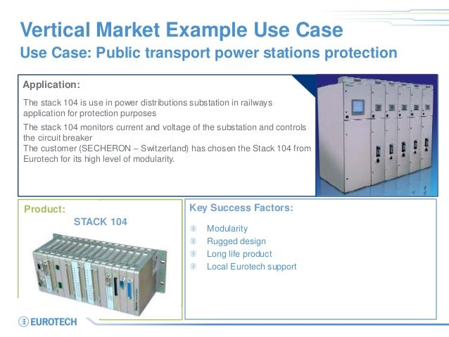 Vertical Market Example Use Case Use Case: Public transport power stations protection Application: The stack 104 is use in...