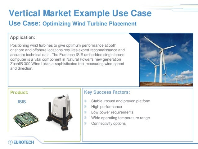 Vertical Market Example Use Case Use Case: Optimizing Wind Turbine Placement Application: Positioning wind turbines to giv...