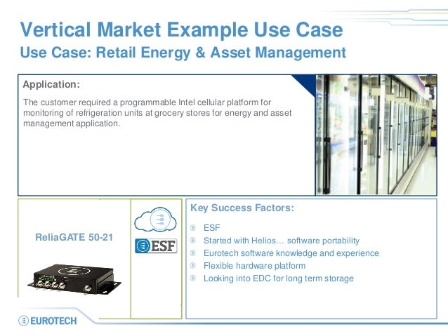 Vertical Market Example Use Case Use Case: Retail Energy & Asset Management Application: The customer required a programma...