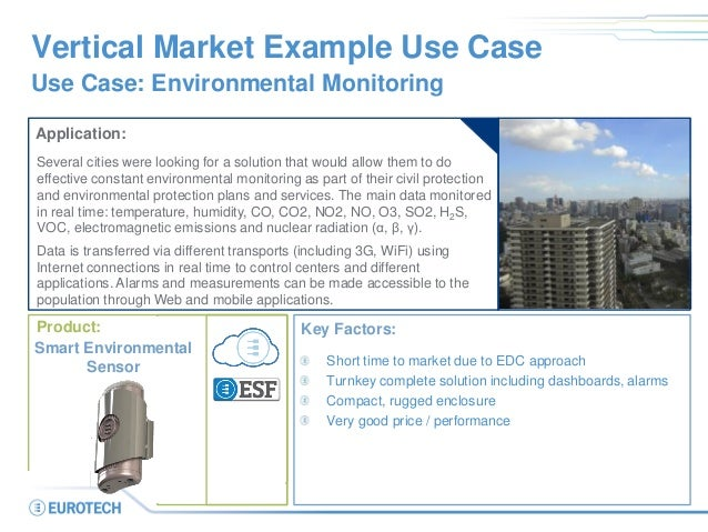 Smart City Smart Building Vertical Market Example Use Case Use Case: Environmental Monitoring Application: Several cities ...