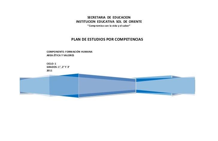 "SECRETARIA DE EDUCACION                        INSTITUCION EDUCATIVA SOL DE ORIENTE                              ""Compromi..."