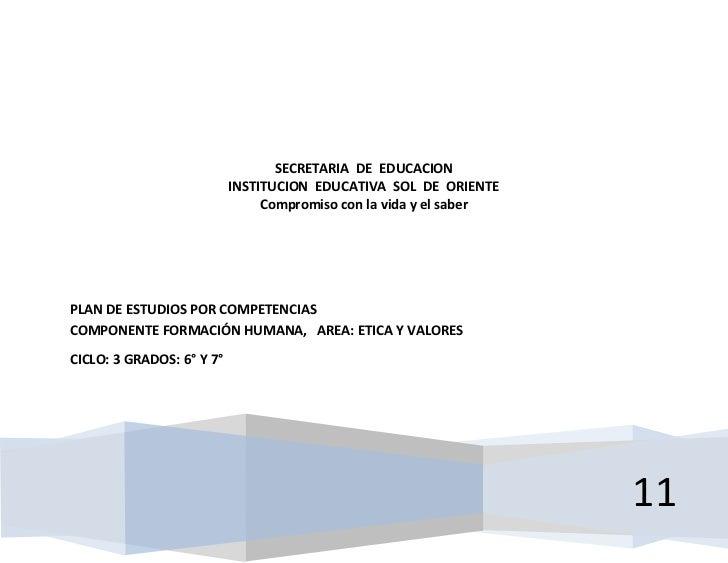 SECRETARIA DE EDUCACION                           INSTITUCION EDUCATIVA SOL DE ORIENTE                                Comp...