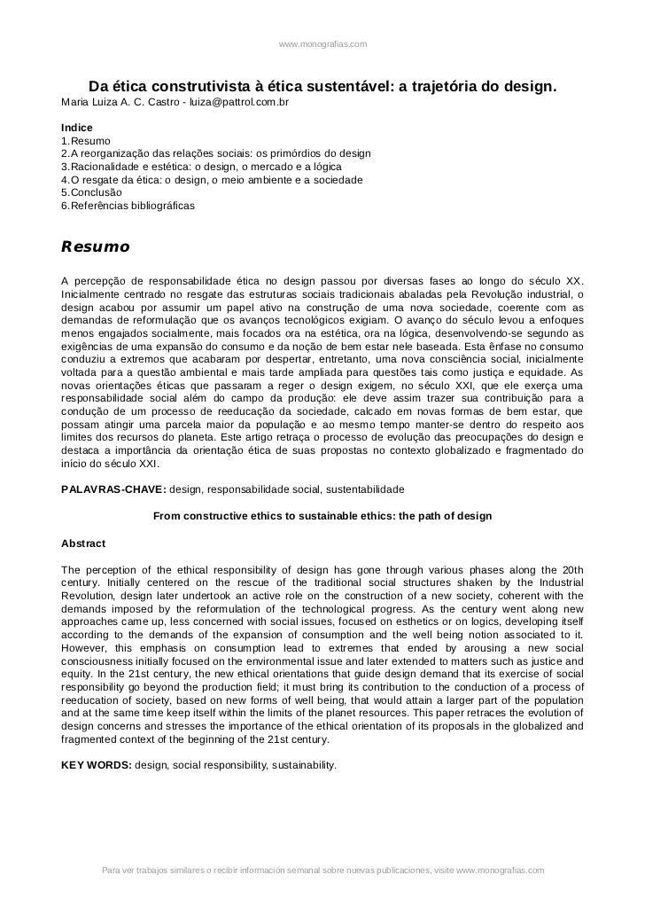 www.monografias.com     Da ética construtivista à ética sustentável: a trajetória do design.Maria Luiza A. C. Castro - lui...