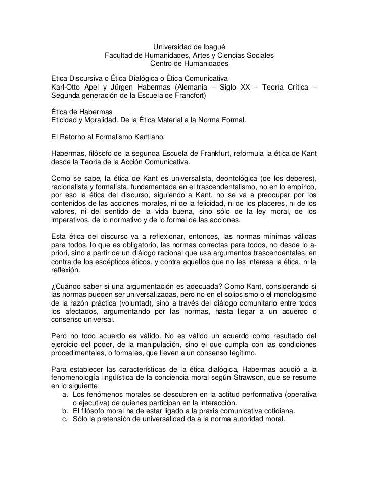Universidad de Ibagué<br />Facultad de Humanidades, Artes y Ciencias Sociales<br />Centro de Humanidades<br />Etica Discur...