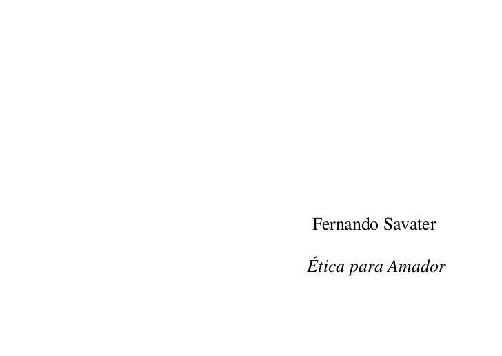 Fernando SavaterÉtica para Amador
